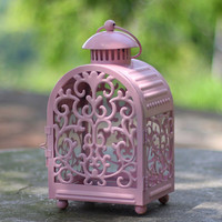 Wedding Accents European Hollow Lace Design Small Pink Iron Lantern Candle Holder