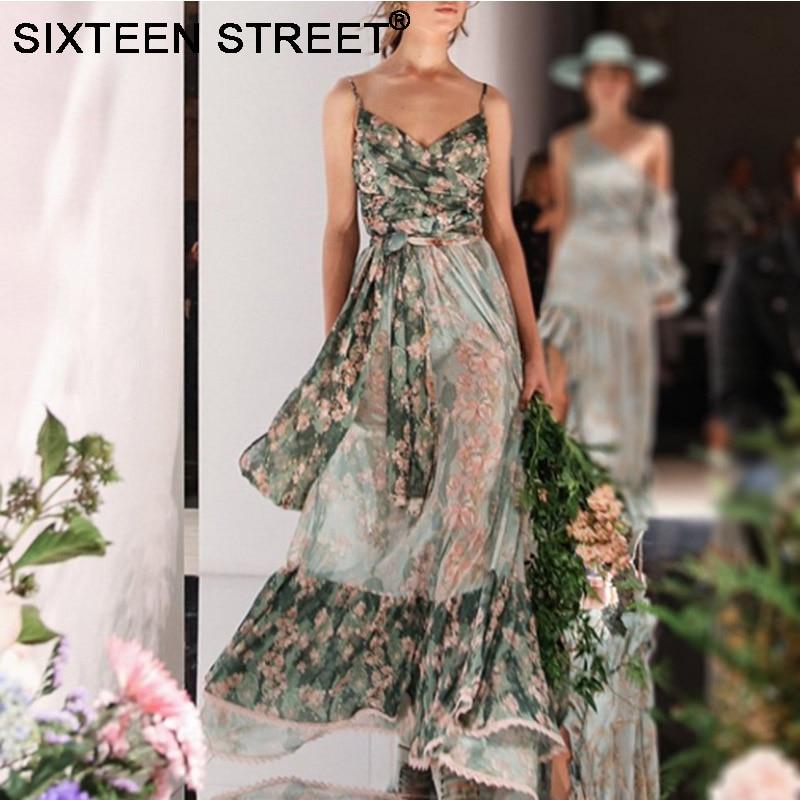 Nouvelle robe à bretelles spaghetti femme vert imprimé col en v robes de soirée élégantes femme été sans manches longue robe maxi piste