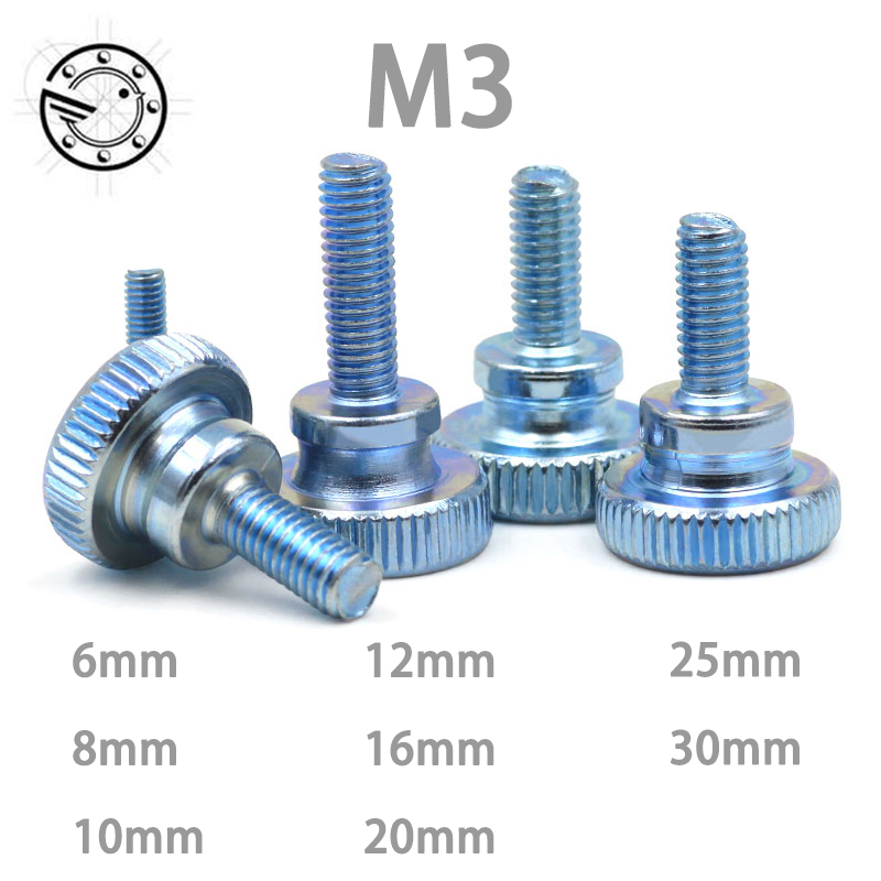 цена на 50pcs M3 Carbon Steel thumb screw with collar round head with knurling manual adjustment screws bolt GB834 M3*(6/8/10~30) MM