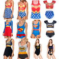 Women BATMAN Bikini SUPERMAN Swimwear One Piece Bathing Beachwear WONDER WOMAN Swimsuit Sexy Swim Suit Swimming Print Dress 2016