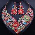 Exquisito Diseño de la Flor 3D Plateó Rhinestones Llenos Collar de Cristal y Los Pendientes de Novia Joyería de La Boda establece