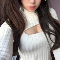 Black White Open Chest Sexy And Cute Sweater High Collar Kitted Tank Tops Trend Korean Version