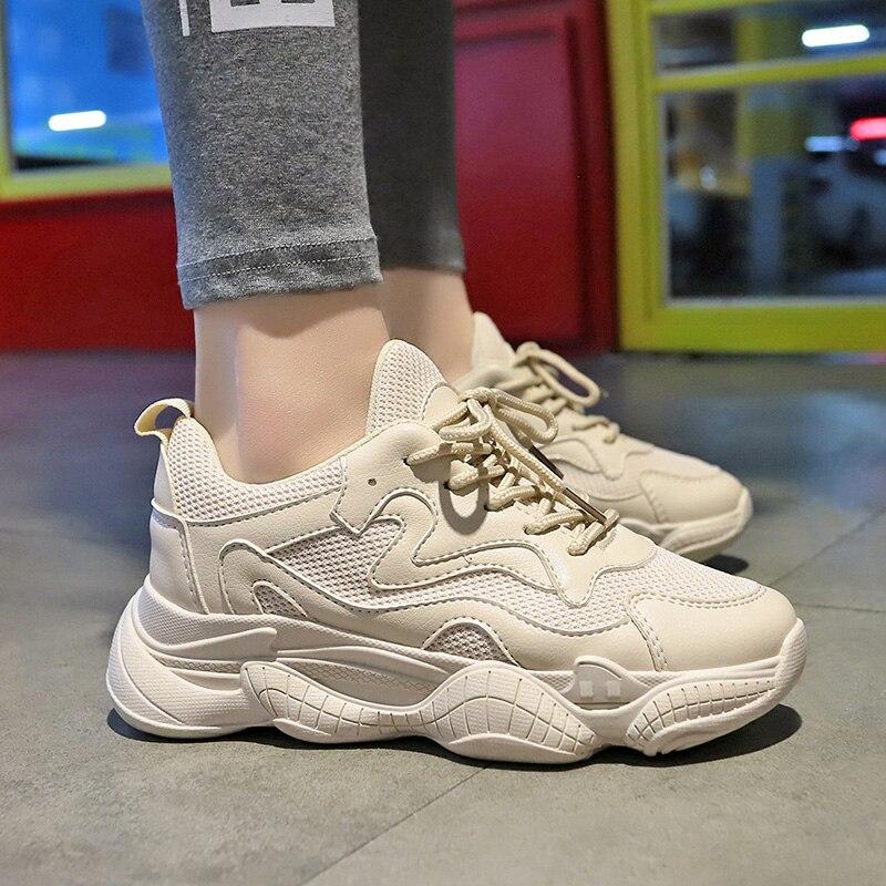 2019 летняя женская обувь кроссовки женские кросовки обувь женская белые кеды белые с подошвой из вулканизированной резины Повседневное модный папа обувь кроссовки на танкетке из искусственной кожи