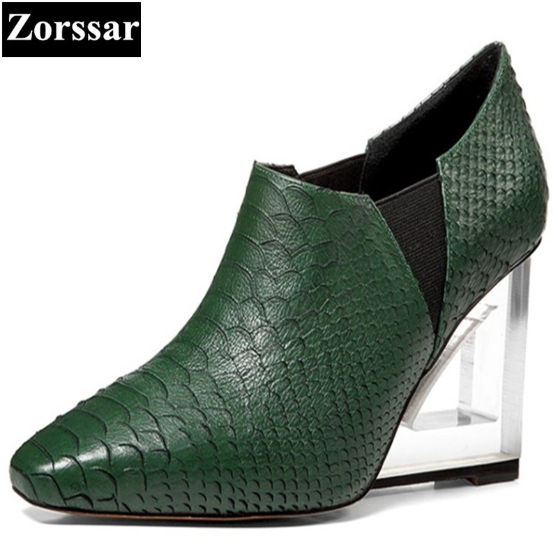 BIG SIZE 33-42 Womens shoes Pointed Toe wedges high heels pumps Women green 2017NEW Fashion Serpentine fashion style woman heels new 2017 spring summer women shoes pointed toe high quality brand fashion womens flats ladies plus size 41 sweet flock t179