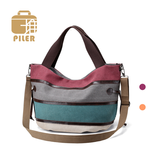 927f453b43cd Womens Simple Shoulder Bags Woman Canvas Hobos Handbags Striped Bag Fashion  Totes Shoulder Crossbody Bags Large Capacity Handbag