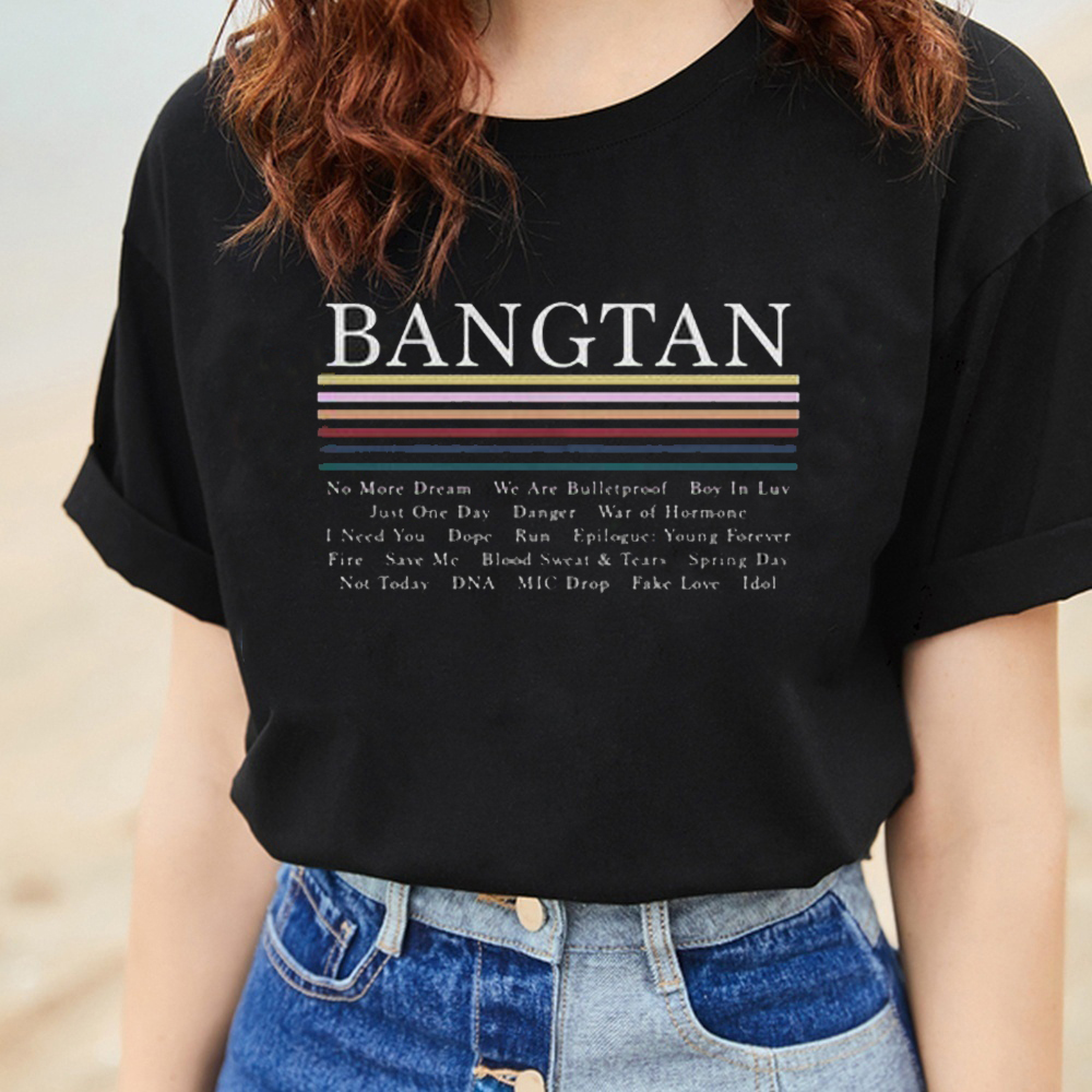 Hahahyule-WW  Black and White NO MORE DREAM K-POP BTS Bangtan Boys Wristband Graphic Tee Casual Black Tops  Friendship Gift 1