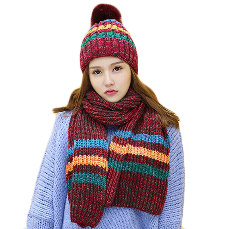 0d0574c8f00b9c New Autumn Winter Women's Hats Scarf Set Warm Cotton Girl Female Knitted Hat  Scarf Fashion Outdoor