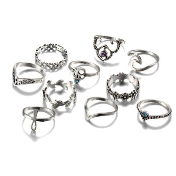 10pcs/Set Antique Silver Color Rhinestone Rings 5