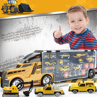 21 in 1 Child Toy Construction Truck Set Diecasts Educational 1:24 Transport Cars Carrier Engineering vehicles for boys