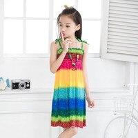 Summer 2016 Girls Bohemian Sundress Colorful Beach Dress Print Viscose Children Onepiece Sleeveless Robe Fille Enfant