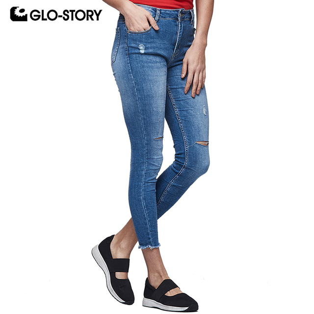 6b30c127332 GLO-STORY Women s Ankle-Length Distressed Ripped Stretch Skinny Jeans Woman Knee  Cut Holes Slim Fit Jean Pants WNK-5884