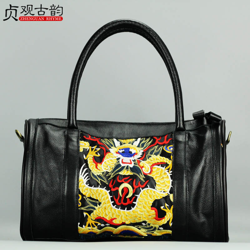 NoEnName New Fashion Ladies' Handbag Shoulder Bag Ethnic Style Chinese Dragon Embroidery High Capacity Elegant Ladies Zipper Bag 2017 pmsix new chinese style fashion shoulder bag elegant lady handbag leather printing embroidery female bag casual woman bag