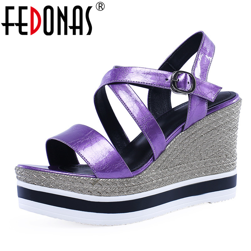 FEDONAS Fashion Sexy Solid Women Sandals 2019 Summer New Genuine Leather Wedges Buckle Shoes Woman Night