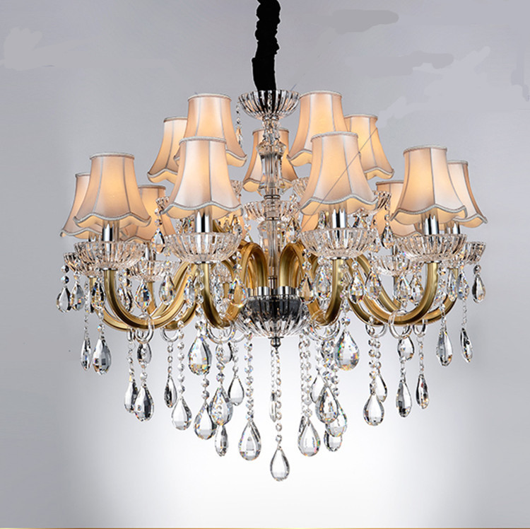 Champagne 15 pcs led chandelier fixtures with shade modern gold luxury crystal chandeliers living room hotel foyer hanging Light