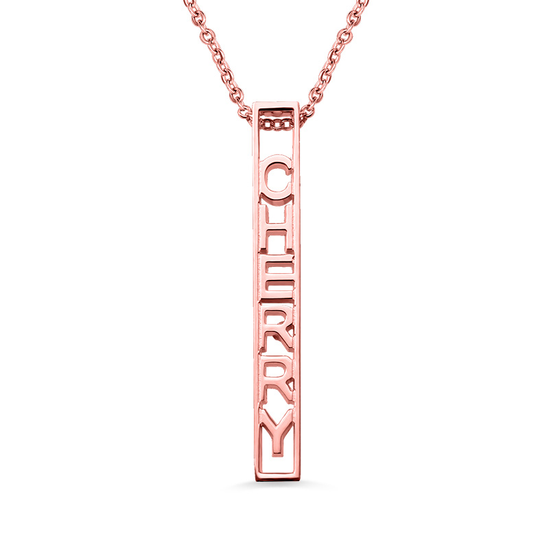 AILIN Customized Female Special 3D Vertical Rose Gold Color Bar Name Necklace Girlfriend Christmas Gift Bar