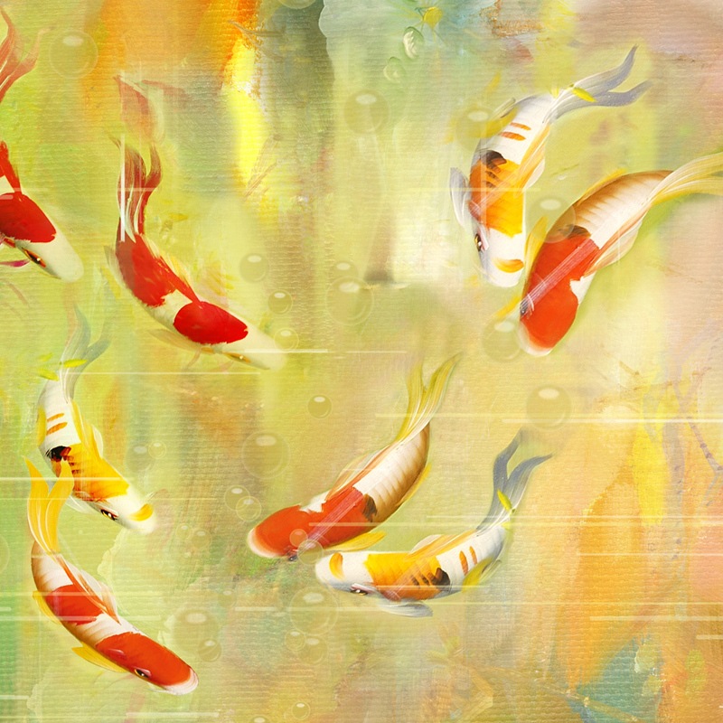 longitudinal sea oil painting nine fish fig decorative painting painting vertical version entrance hallway hallway paintings mod in inserts cushions from - Decorative Painting