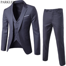 2018 Brand Men Suits Blazer with Pants Slim Fit Business 3 piece Suit Jacket Pants Vest
