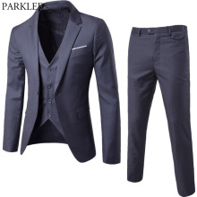 2018 Brand Men Suits Blazer with Pants Slim Fit Business 3 piece Suit (Jacket+Pants+Vest) Wedding Suits Mens Tuxedo Suit Ternos