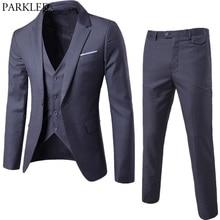 2018 Brand Men Suits Blazer with Pants Slim Fit Business 3 piece Suit (Jacket+Pants+Vest) Wedding Suits Mens Tuxedo Suit Ternos