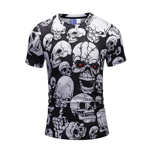 Men's Casual Scary Skulls 3D Printing Short Sleeve O-neck T-shirt