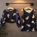 Nuevo 2015 otoño patrón del conejo del invierno chaleco vestido con capucha + 2 unids bebé arropa sistemas para las niñas traje de 2 ~ 7 edad niño niños trajes
