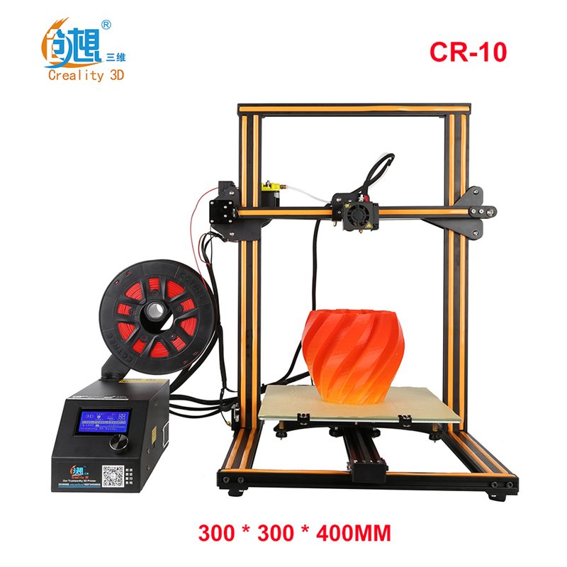 CREALITY 3D Crealit CR-10 large DIY Desktop 3D Printer Kit 300 * 300 * 400 mm Printing Optional 3D Printers DIY Kit metal frame linear guide rail for xzy axix high quality precision prusa i3 plus creality 3d cr 10 400 400 3d printer diy kit