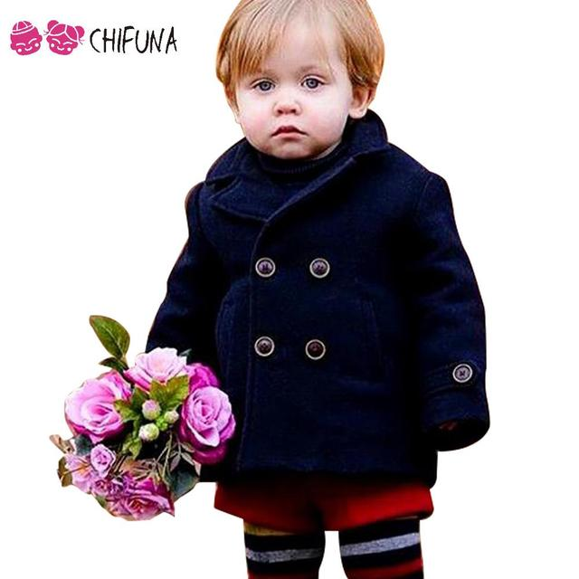 Hot Sale 2016 Baby Woolen Coat Kids Clothes Fashion Thicker Spring Winter Coat Navy Blue Woolen Baby Clothes Boys Girls Coat