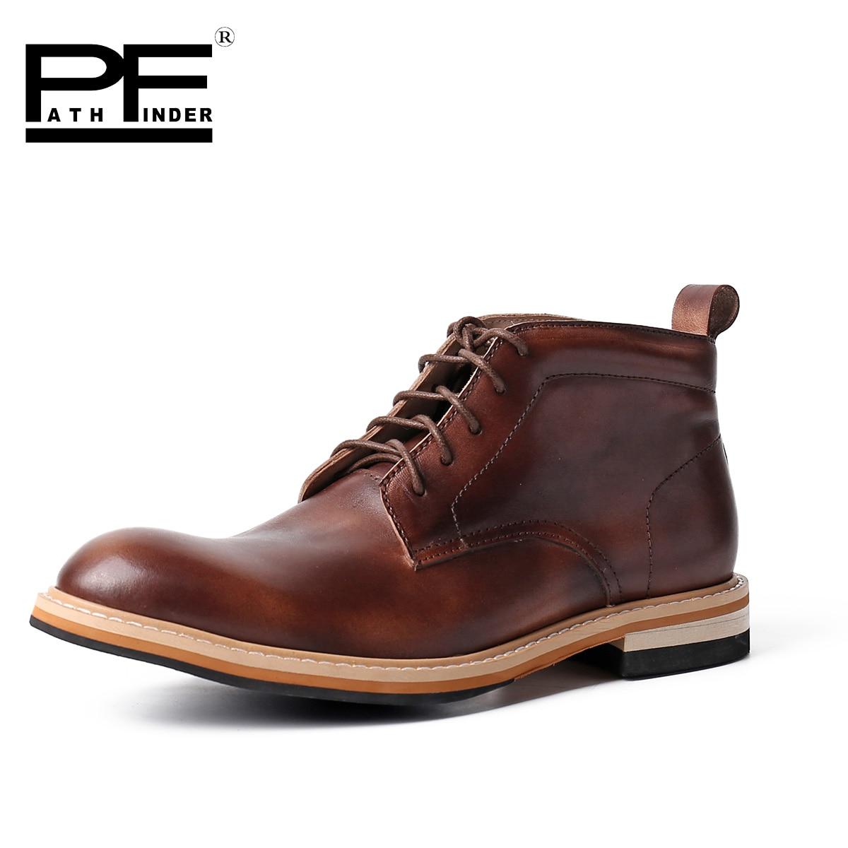 Pathfinder 2016 British Classic Dress Botas Men Leather Oxfords Shoes Original Brand font b Cowboy b