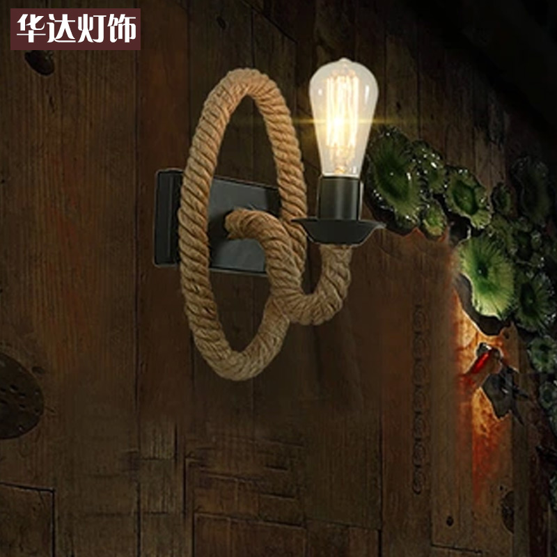 LOFT studio personality clothes shop wall lamp bedside lamp rope Cafe American retro lamp loft american edison vintage industry crystal glass box wall lamp cafe bar coffee shop hall store club