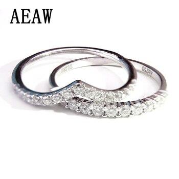 3129dfdb7fd2 Único anillo de compromiso moissanite real 14 K 585 oro blanco banda de  boda para mujeres aniversario match Band