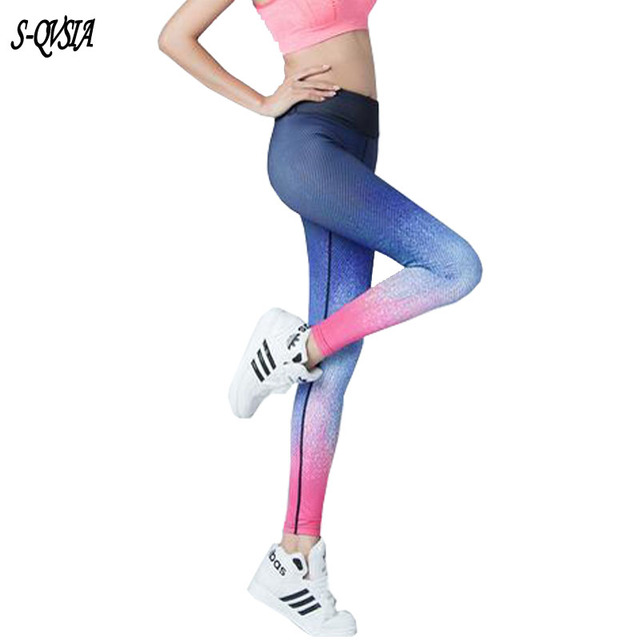 S-QVSIA Новая Мода гетры Женщин Градиент Sky Qick Сухой Лайкра Леггинсы Печатные леггинсы для Женщин брюки Спортивные Леггинсы Fithess