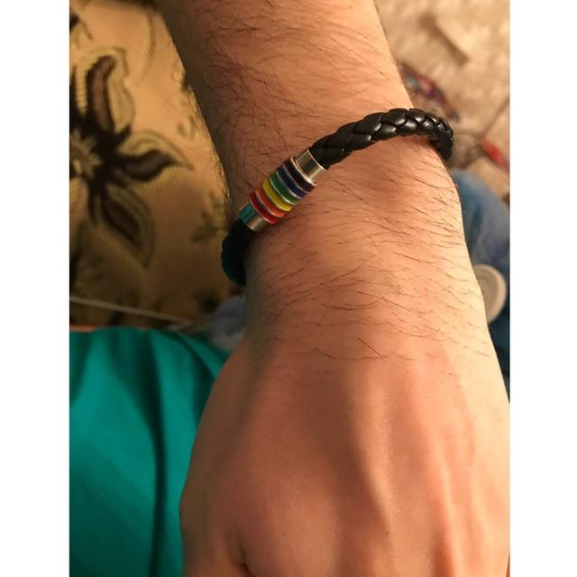 Itenice 2018 New Black Brown Genuine Braided Leather Bracelet Women Men Stainless Steel Gay Pride Rainbow Magnetic Bracelet Gift 4