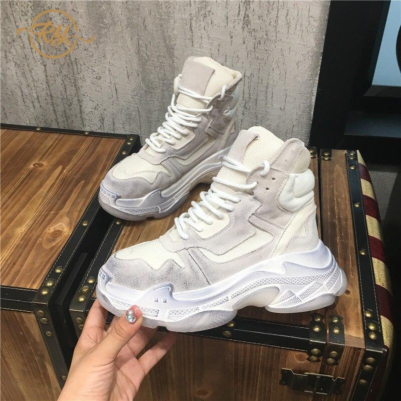 RY-RELAA femmes baskets 2018 été nouvelles chaussures à semelles compensées pour femmes plate-forme baskets blanc chaussures femmes chaussures de luxe ins style chaussure