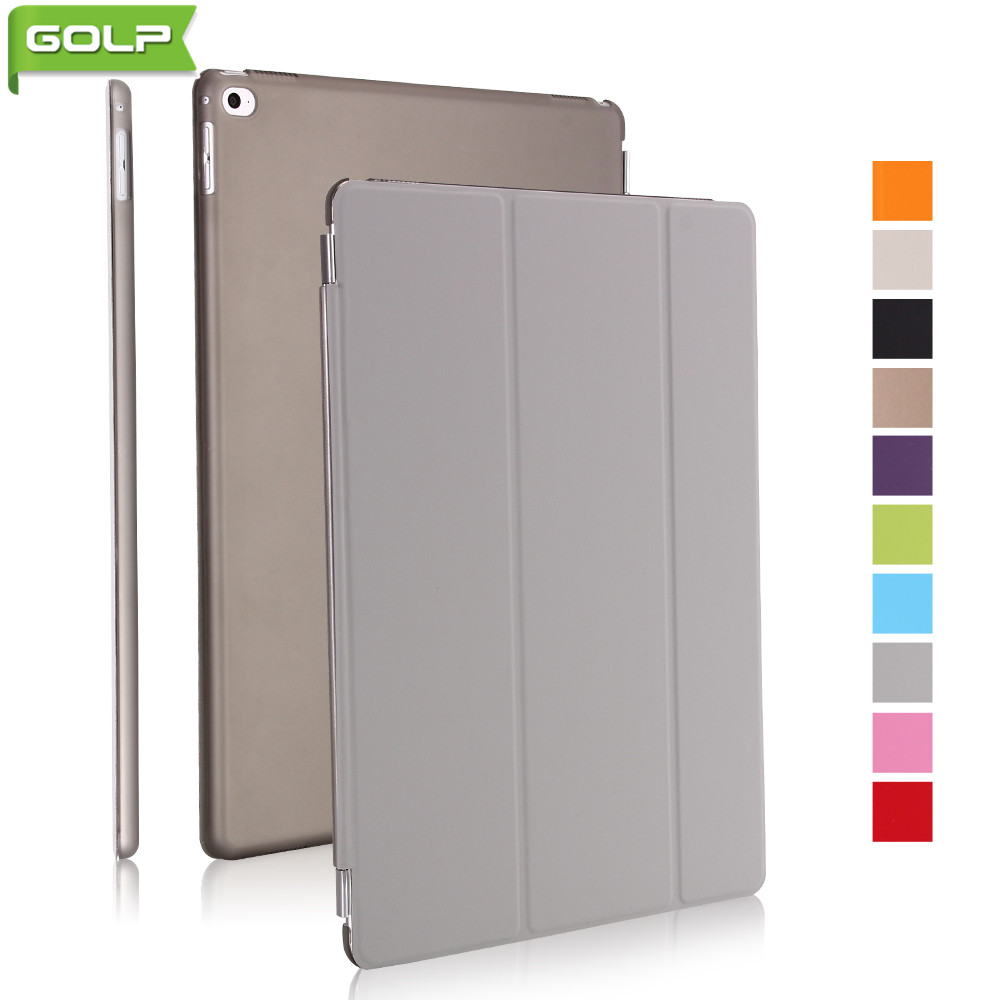 Case for IPad Pro 12.9, GOLP Tri-fold Perfect Stand PU Leather Smart Folio Cover PC Translucent Back Case for IPad Pro 9.7
