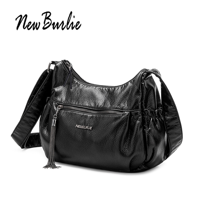 143a4ce521100 New Burlie ladies casual Hobos Women Messenger Bags Crossbody Soft washed PU  Leather Shoulder Bag Tassel Fashion Female Handbag