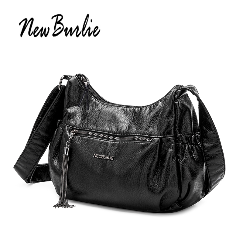 New Burlie ladies casual Women Messenger Bags Crossbody Soft PU Leather Shoulder Bag Tassel Luxury F