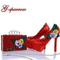 Новый Дизайн красными стразами Каблучки с подходящая сумочка Аппликации и кристаллами Свадебная обувь туфли лодочки для вечеринок с муфто