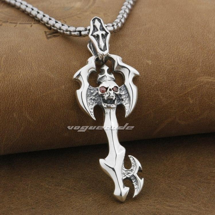 Skull Cross Key 925 Sterling Silver Mens Biker Rocker Pendant 9F016A(Necklace 24inch) solid 925 sterling silver skull mens biker pendant 8c011 with matching stainless steel necklace