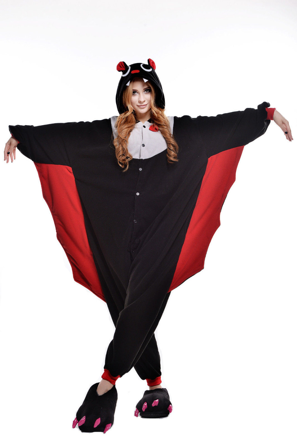 Fashion Black Red Bat Adult Pajamas Animal Sleepwear Party Jumpsuit Sleepsuit One-Piece Christmas Halloween Cosplay Costumes