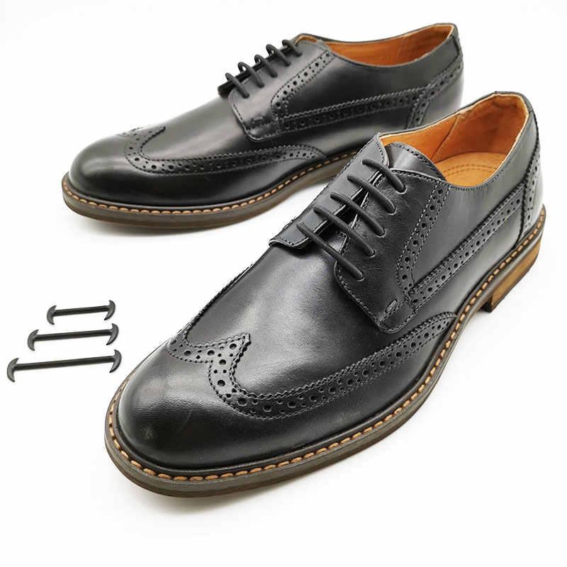 Zapatos de cuero cordones de silicona para zapatos 12 unids/set 3 tamaños hombres mujeres goma perezoso sin cordones Cordones elásticos de blanco negro marrón