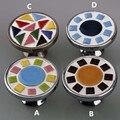 Modern simples moda mosaico de cerâmica gabinete gaveta puxa dresser puxadores de prata cromo porta alça de porcelana azul branco preto vermelho