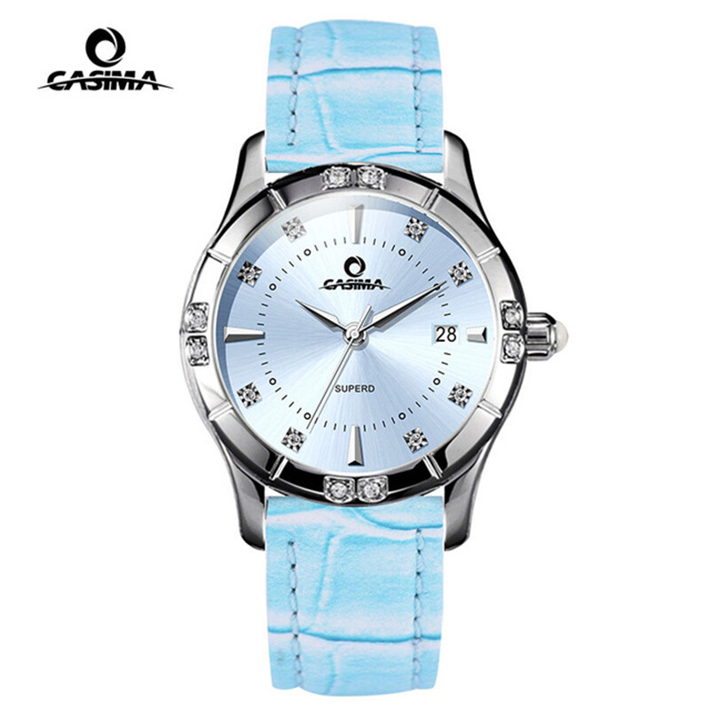 CASIMA Waterproof 50m Quartz Women Watch Leather Calendar Rhinestone Ladies Watches Top Brand Luxury relogio masculino 2017 luxury brand time story women s necklace quartz analog rhinestone anti clockwise watches women waterproof watch