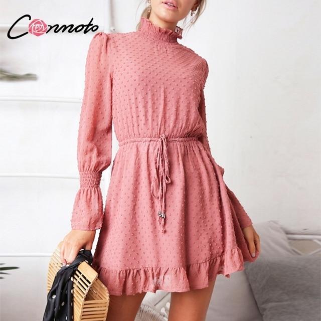 Conmoto Long Sleeve Black Chiffon Dress Fall Vintage Ruffle Pink Beach Mini  Dress Elegant Casual Mesh 6f27bcd9863b
