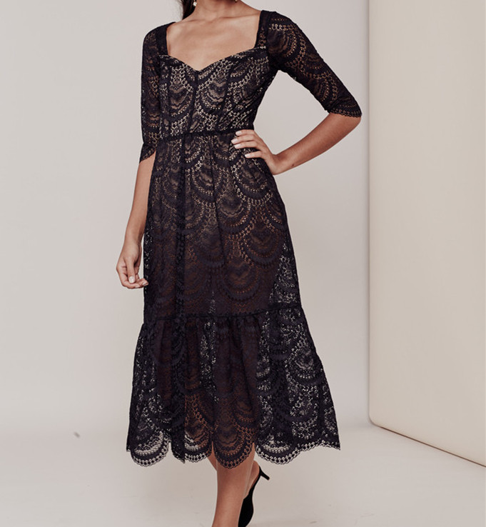 Women Love Black Scallop Rosalita Dress Elegant White Scalloped Lace Midi Dress Flare Dress
