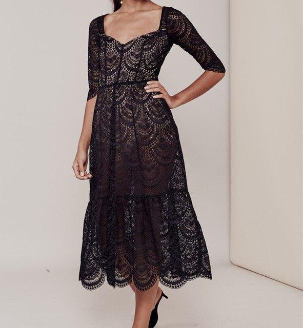 78ce65c83c3 Women Love Black Scallop Rosalita Dress Elegant White Scalloped Lace Midi  Dress Flare Dress