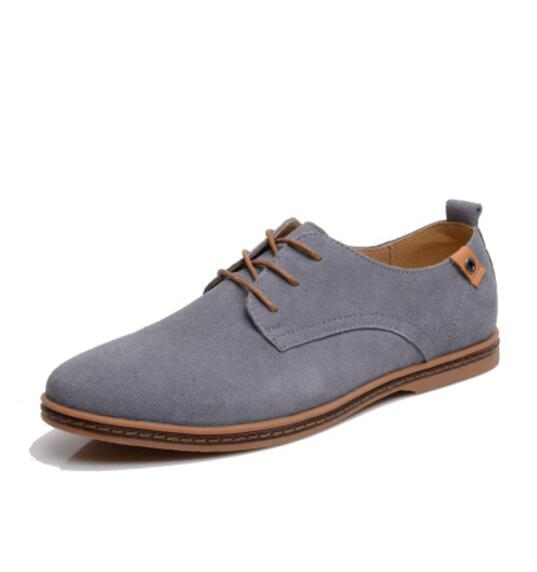 Hot Sale Summer Genuine Leather Flats Male Shoes Adult Casual Shoes Black Suede Dress KM166-200 Oxfords Lace Up Size 36-45
