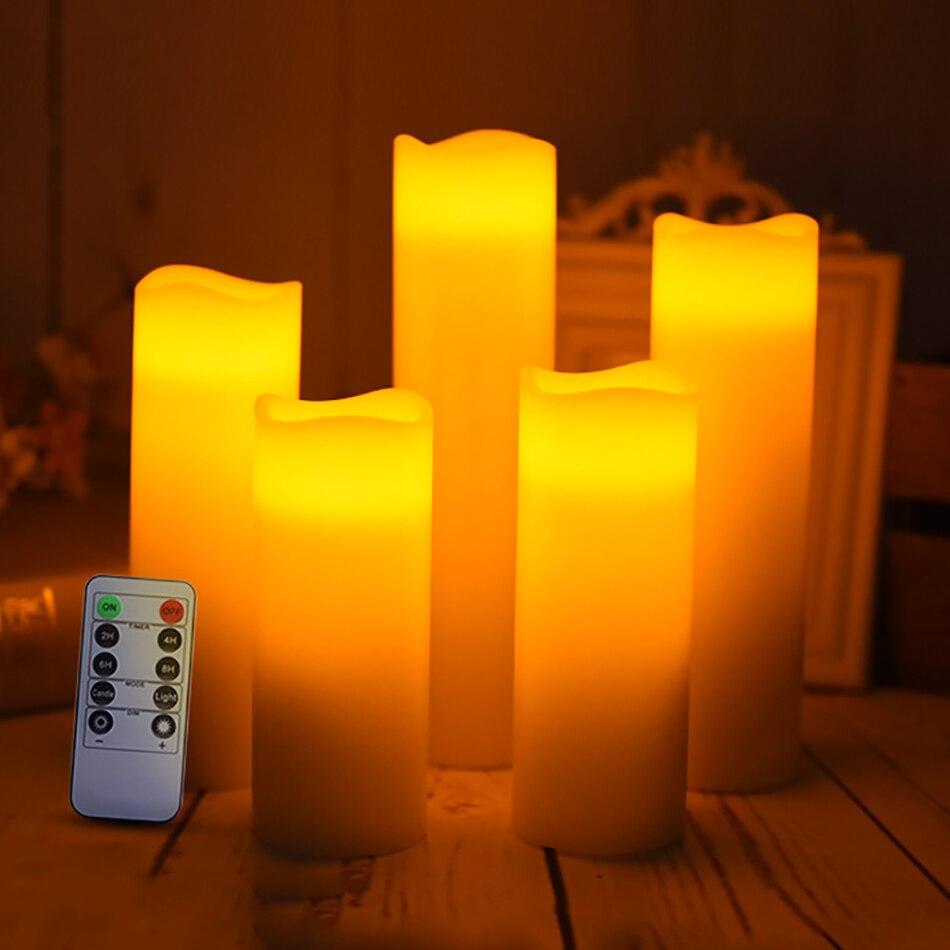 Bougie menée à distance sans fil faite par la vraie cire, ensemble de 5 bougies de cire pour la décoration de mariage, lumière sans flamme de bougie de partie de vacances