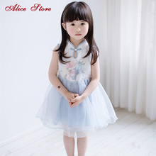 2018 New Summer Girls Improved Chinese Clothing Children's Chinese StyleRose Bluebird Printed A Word Buckle Ball Gown Dress