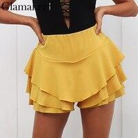 Glamaker Ruffle curto short saia plissada saia de cintura alta Elegante das mulheres Casual branco preto mini saia fêmea do verão de fundo