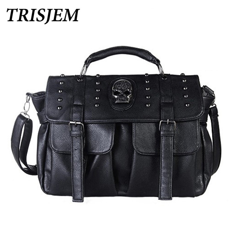 2018 Motorcycle Punk Style Skull Rivet Tote Bag Shoulder Bags for Ladies Women Messenger Bags Black Designer Leather HandBags weketory 28 inch 180w led work light bar for tractor boat off road 4wd 4x4 12v 24v truck suv atv spot flood combo beam